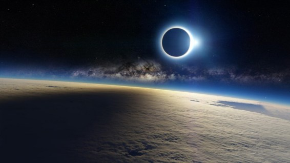 Space-Eclipse-Sun-Light-Moon-Shadow-On-Earth-Cloud-Milky-way-Galaxy-WallpapersByte-com-1366x768